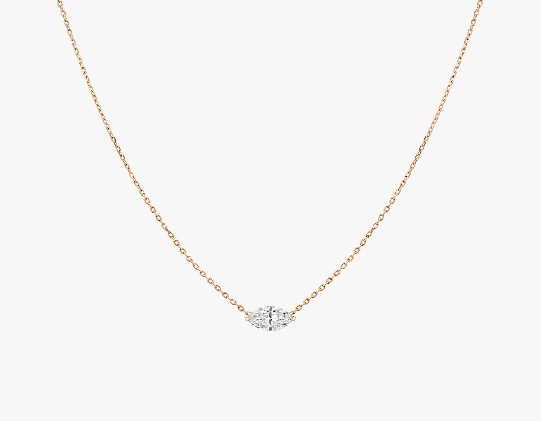 Vrai 14K solid gold solitaire marquise diamond necklace 1ct minimalist delicate, 14K Rose Gold