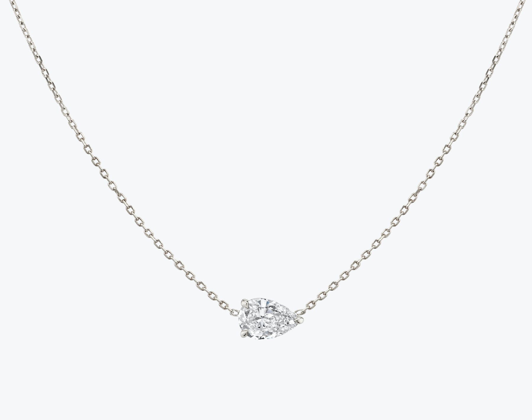 Vrai 14K solid gold solitaire pear diamond necklace 1ct minimalist delicate, 14K White Gold