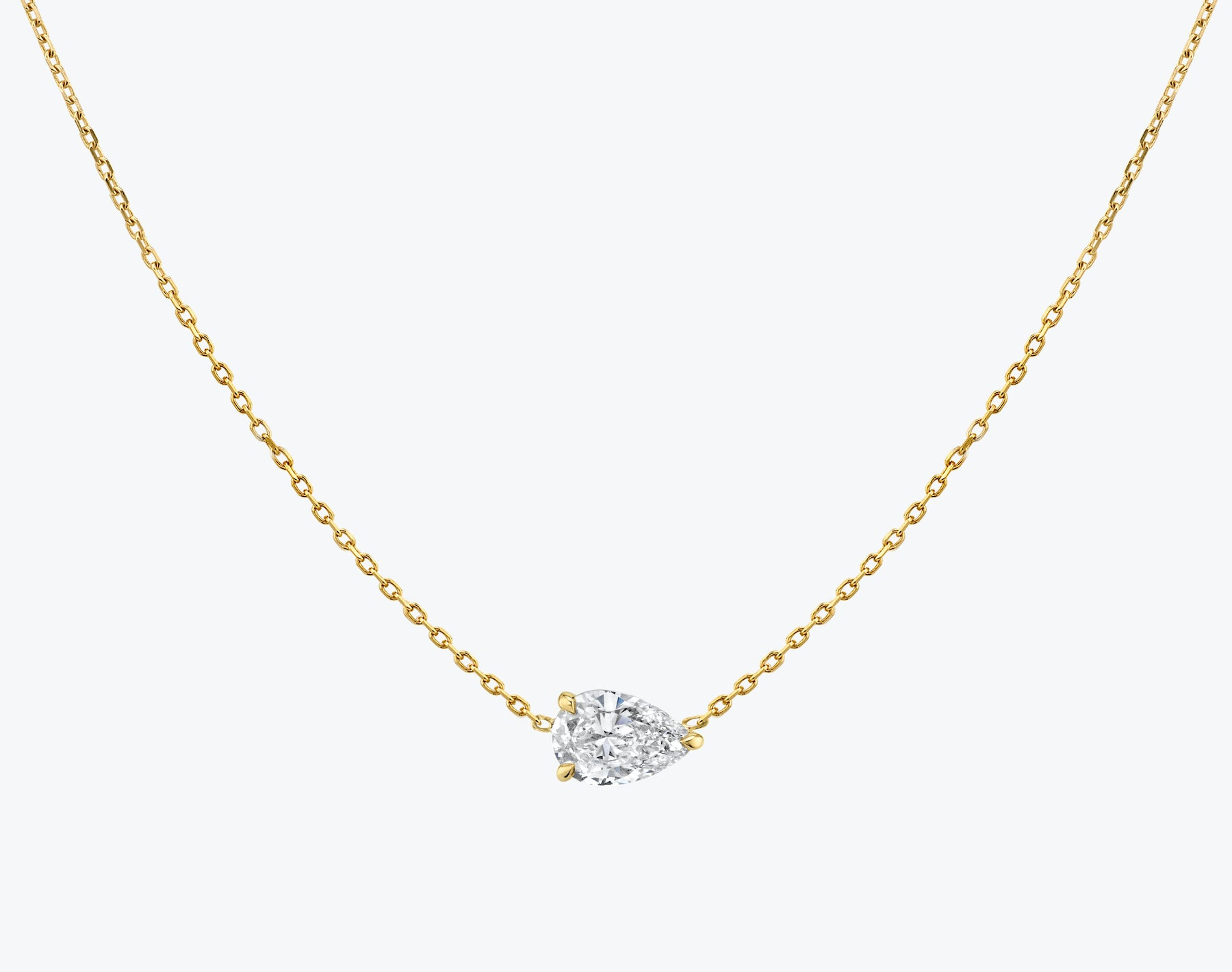 Vrai 14K solid gold solitaire pear diamond necklace 1ct minimalist delicate, 14K Yellow Gold
