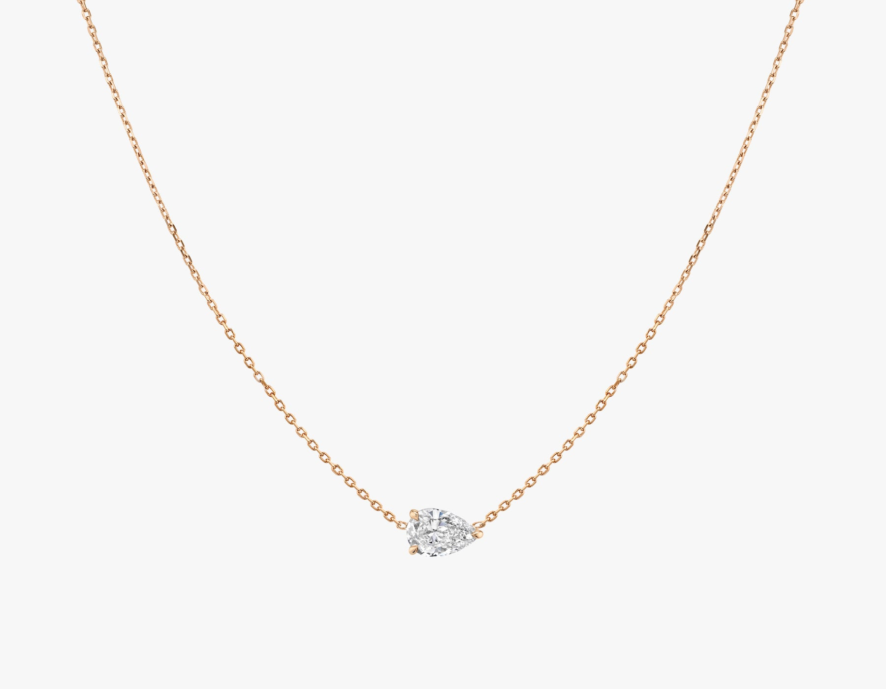 Vrai 14K solid gold solitaire pear diamond necklace 1ct minimalist delicate, 14K Rose Gold