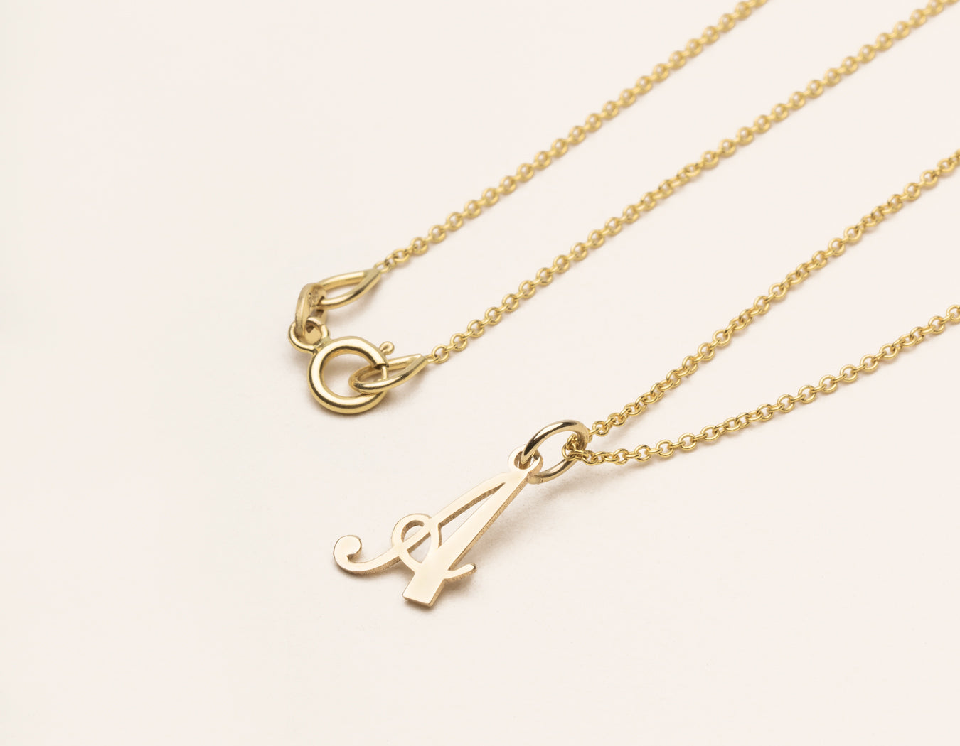 Vrai and Oro simple classic 14k Solid Gold Letter Pendant charm on oval link chain, 14K Yellow Gold