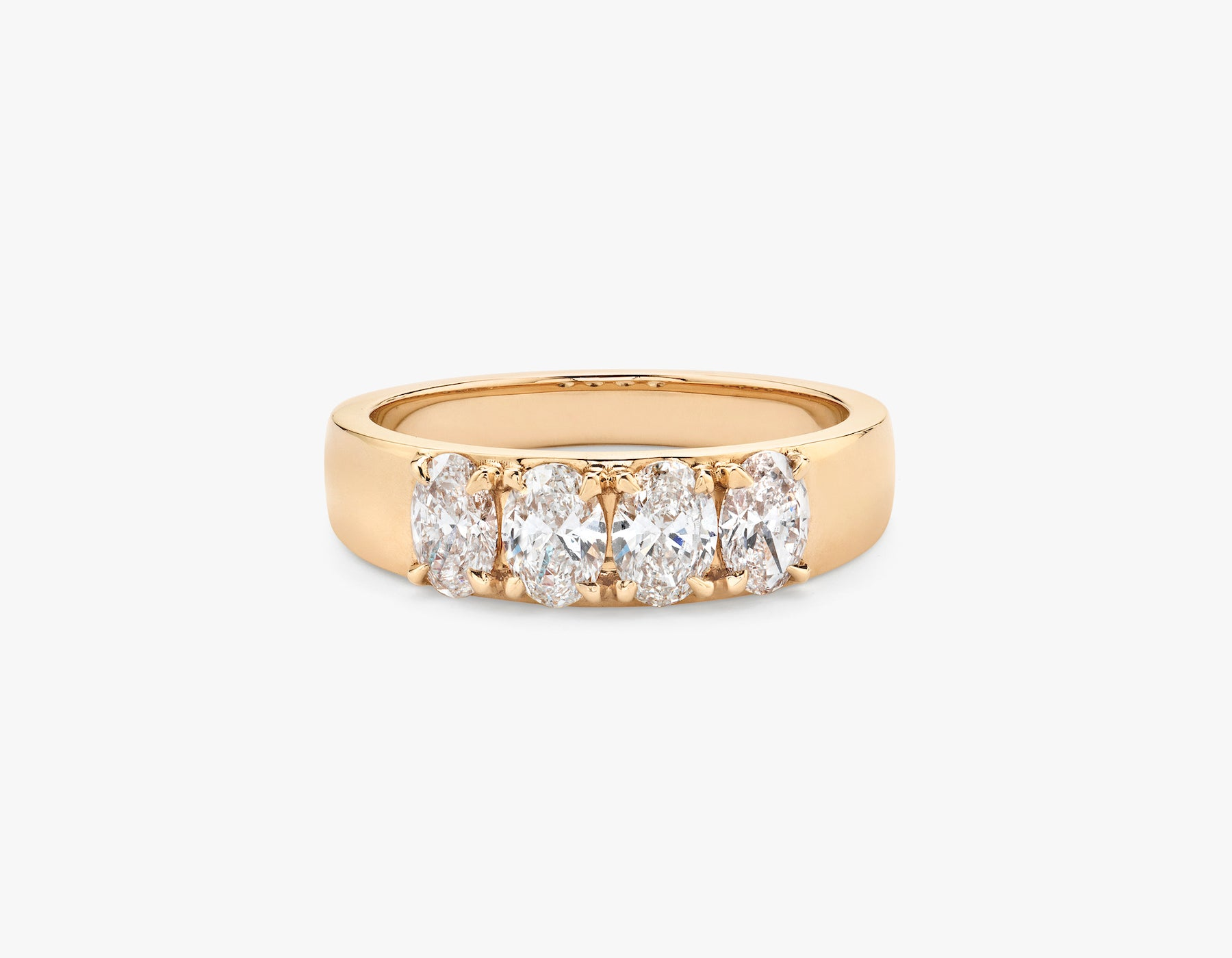 Vrai simple minimalist Oval Diamond Tetrad Band .25ct Oval Diamond Ring, 14K Rose Gold
