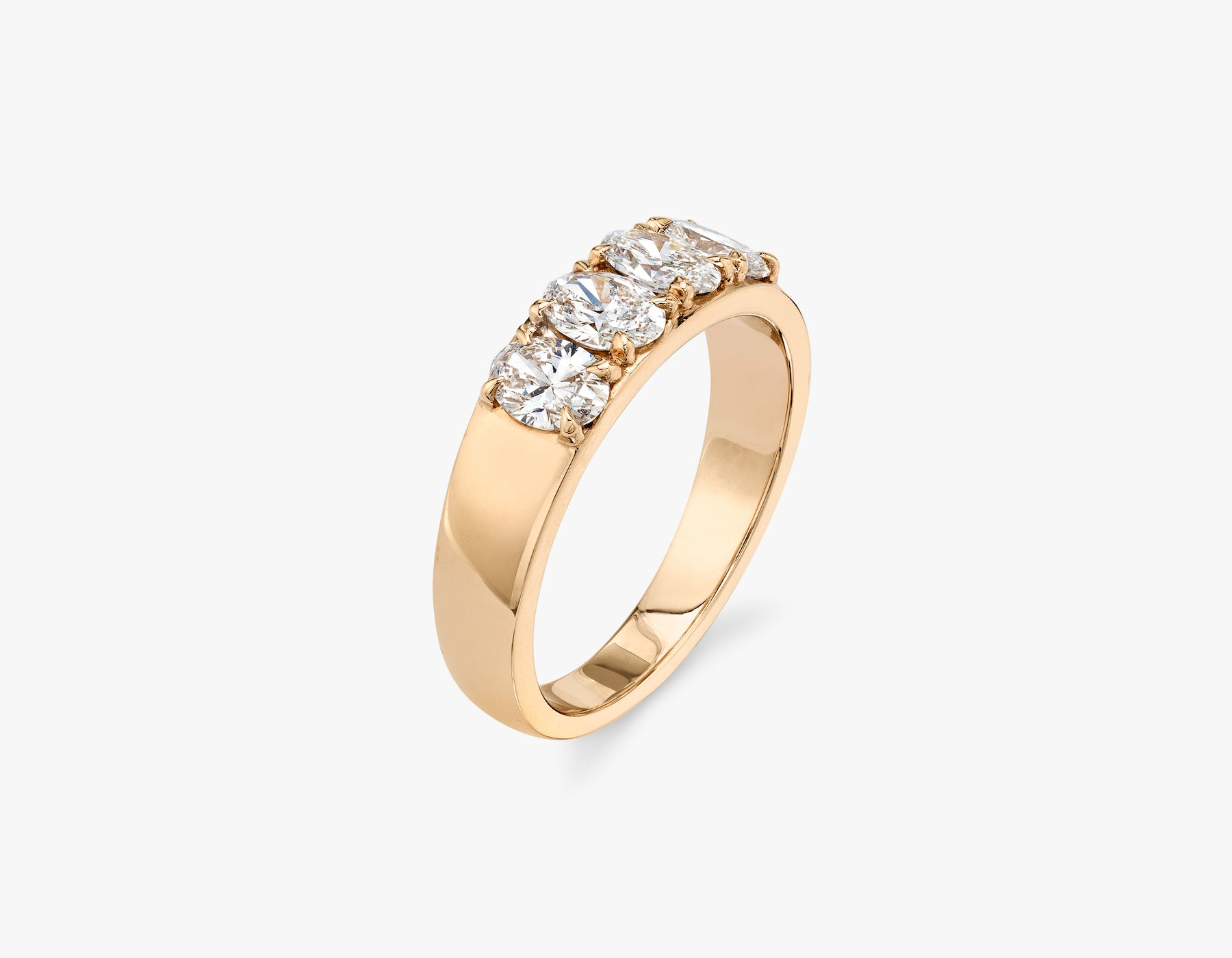 Vrai classic elegant Oval Diamond Tetrad Band .25ct Oval Diamond Ring, 14K Rose Gold