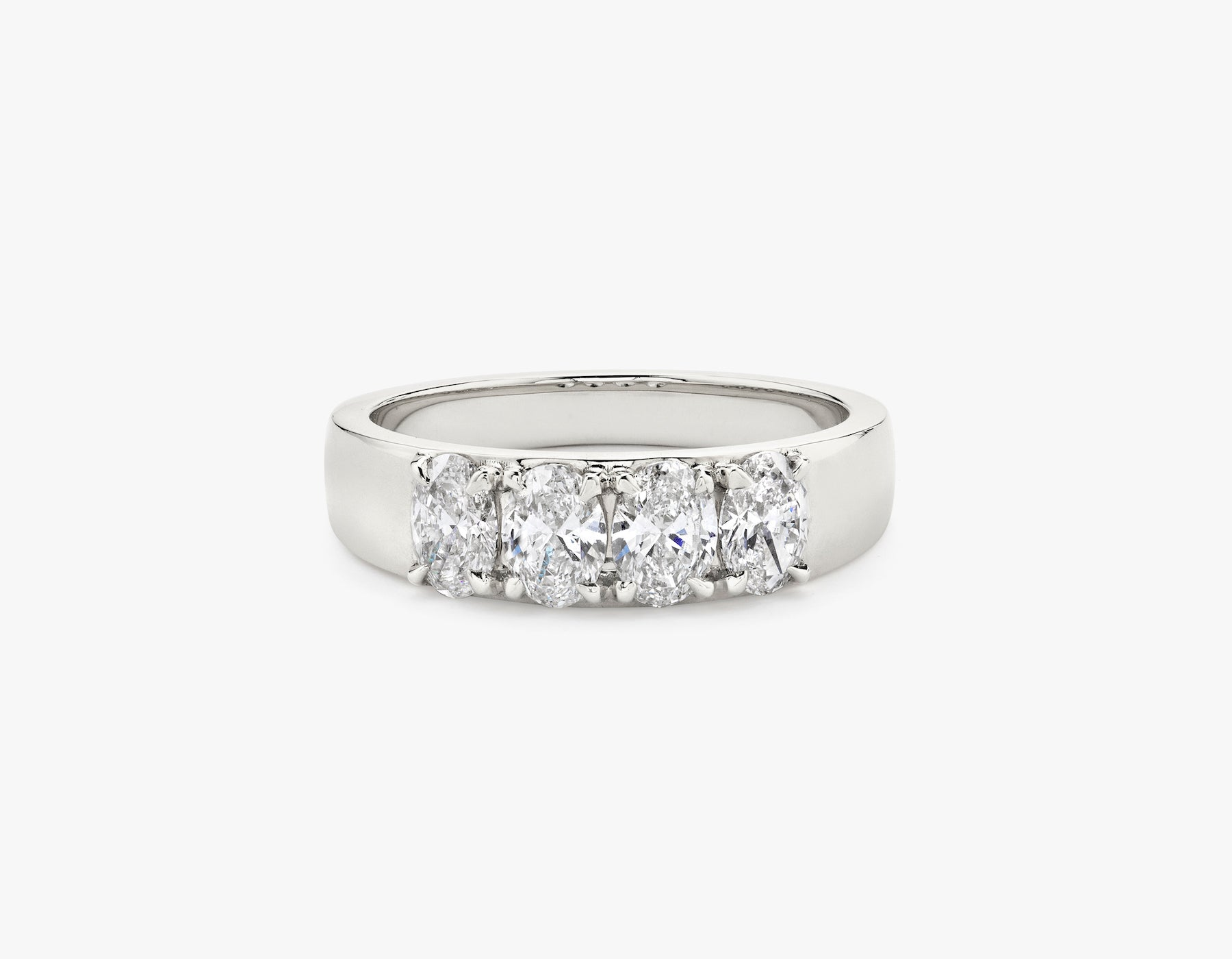 Vrai simple minimalist Oval Diamond Tetrad Band .25ct Oval Diamond Ring, 14K White Gold