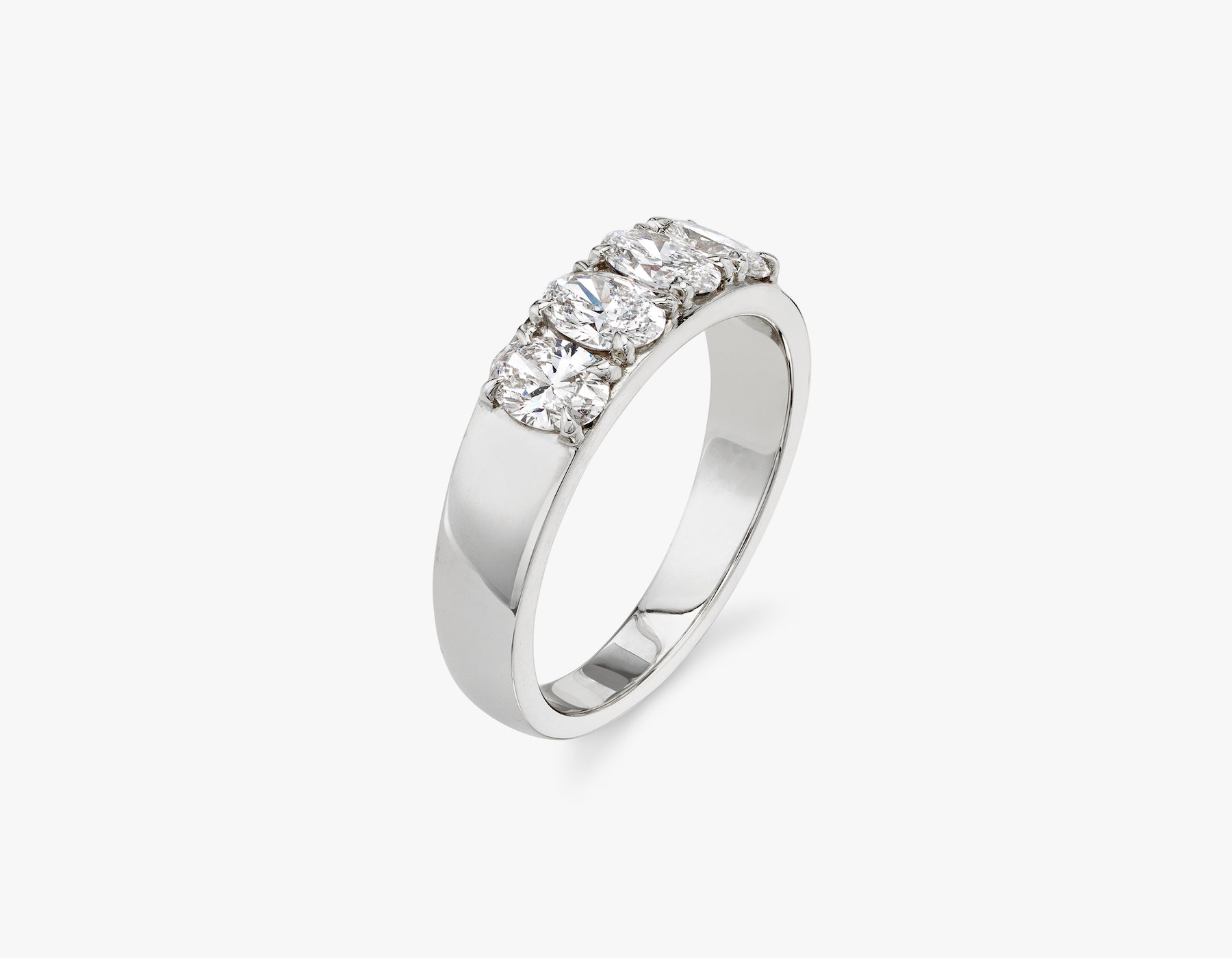 Vrai classic elegant Oval Diamond Tetrad Band .25ct Oval Diamond Ring, 14K White Gold