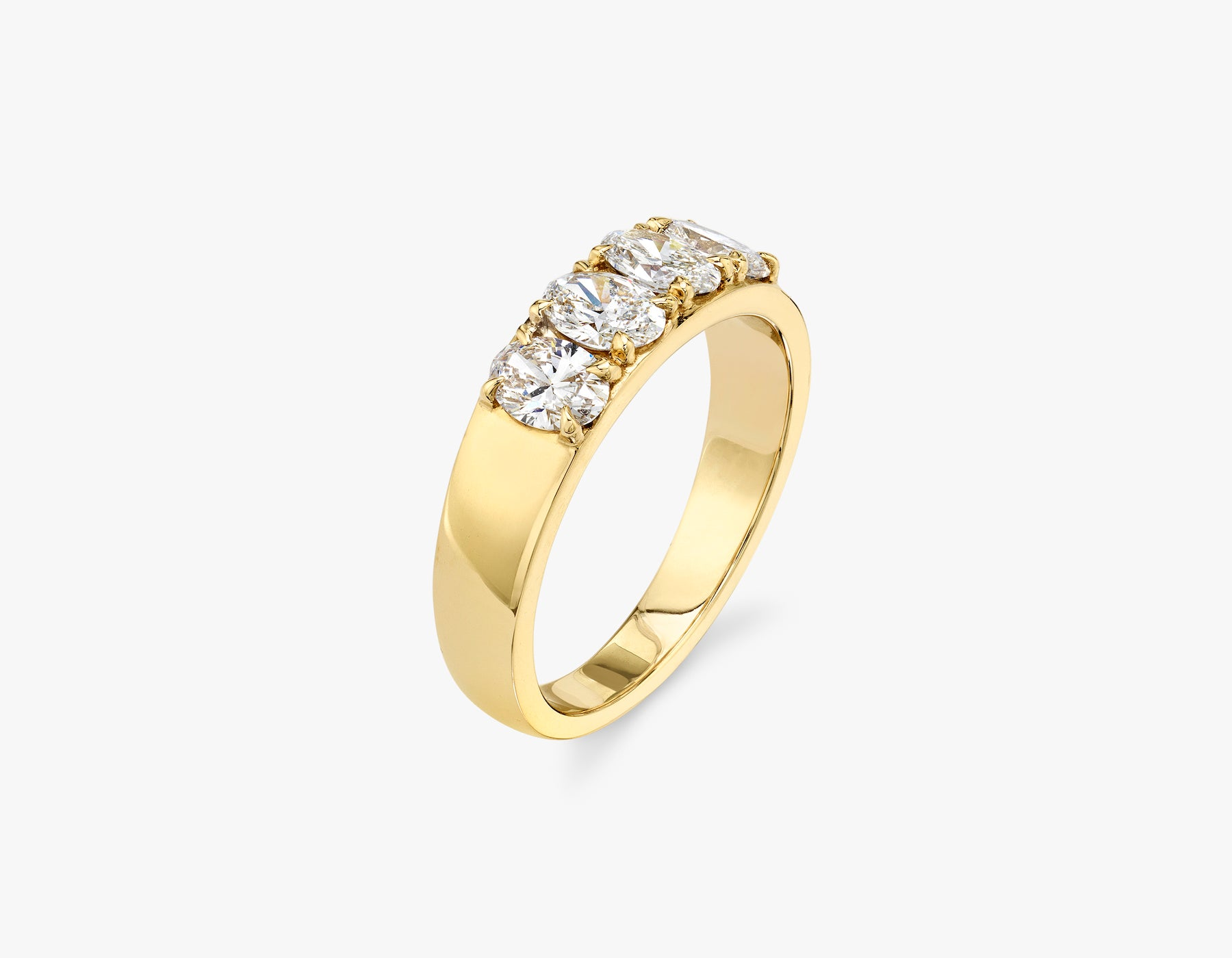 Vrai classic elegant Oval Diamond Tetrad Band .25ct Oval Diamond Ring, 14K Yellow Gold
