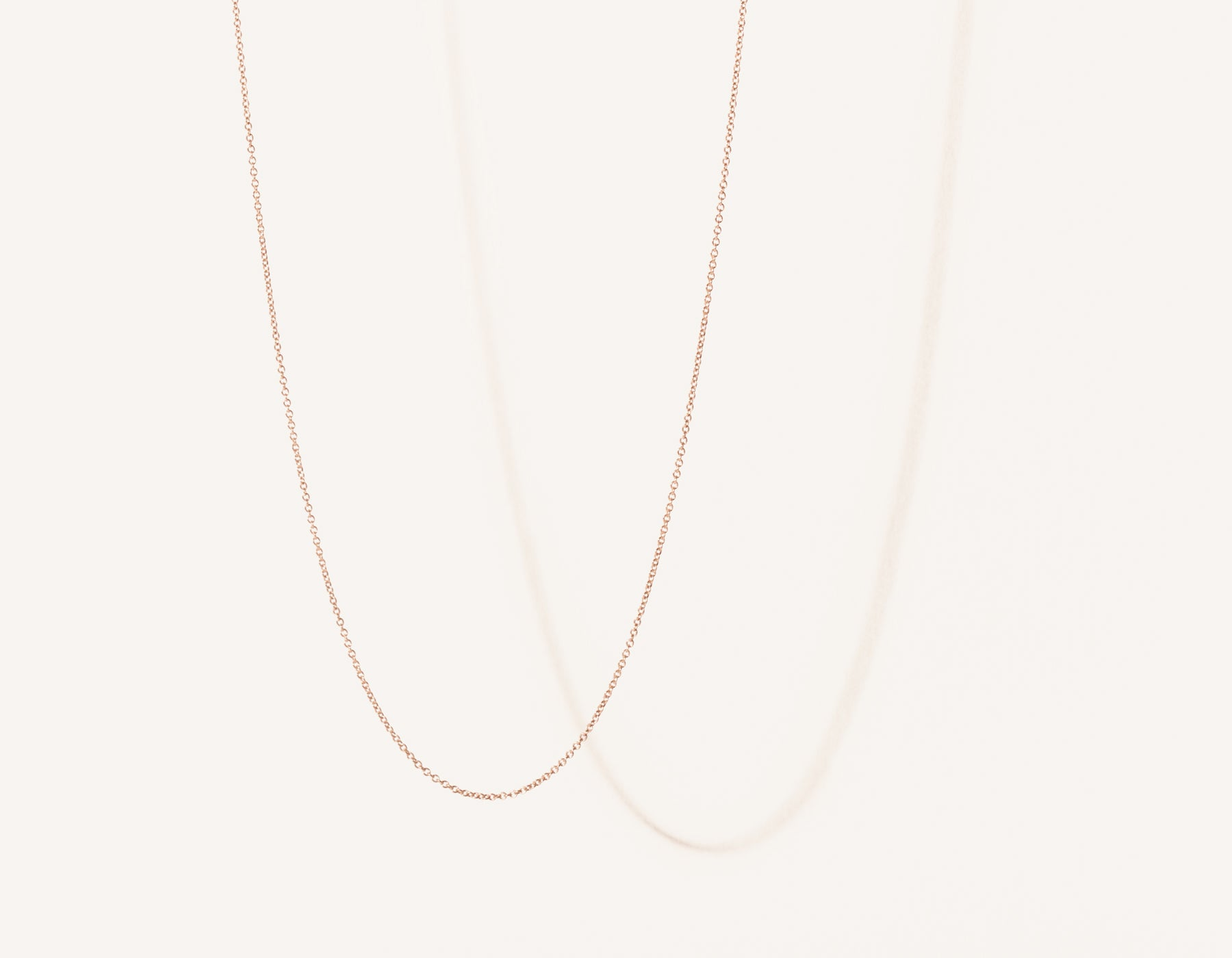 Modern minimalist thin Oval Link Chain necklace in 14k solid gold by Vrai and Oro jewelry, 14K Rose Gold