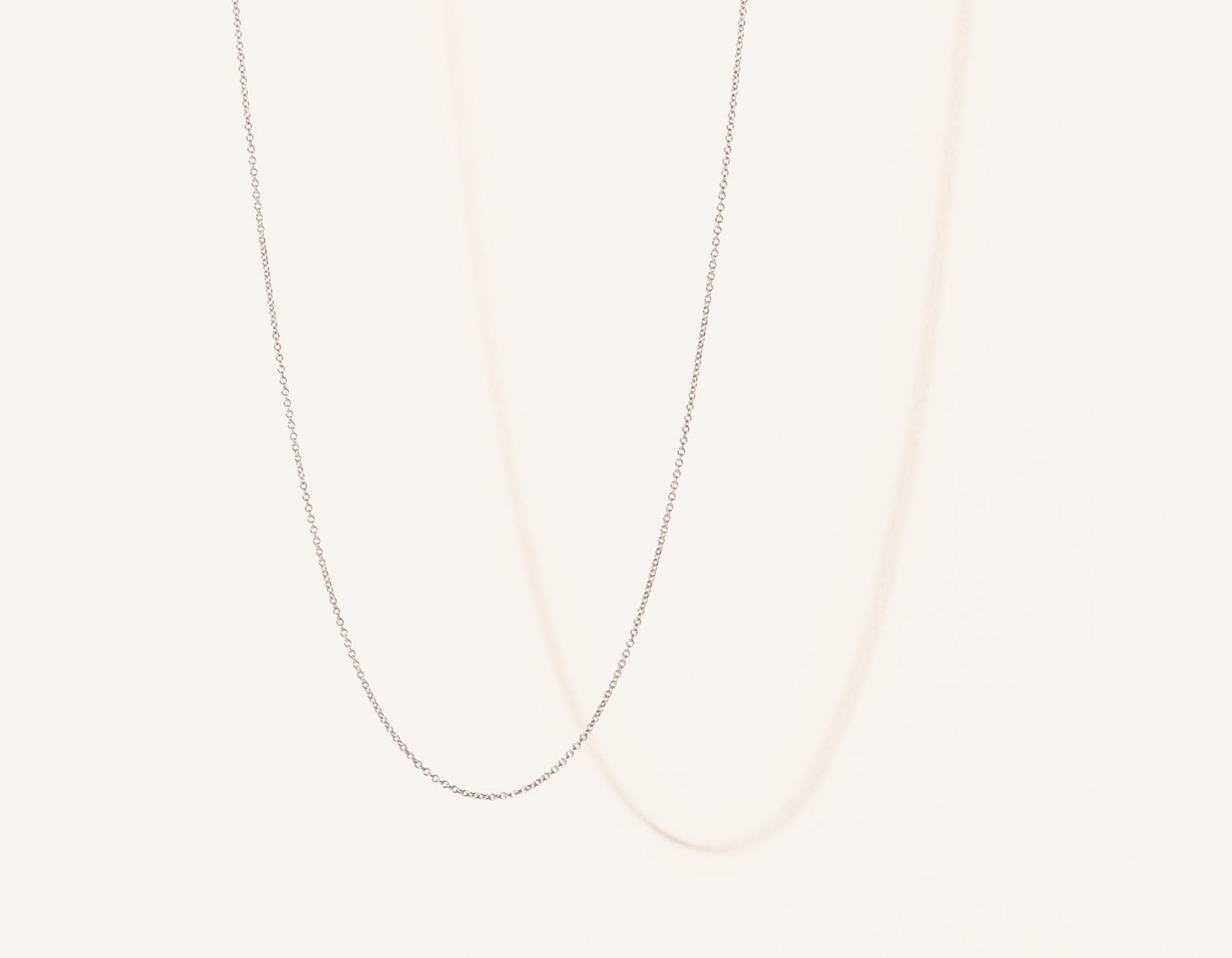 Modern minimalist thin Oval Link Chain necklace in 14k solid gold by Vrai and Oro jewelry, 14K White Gold