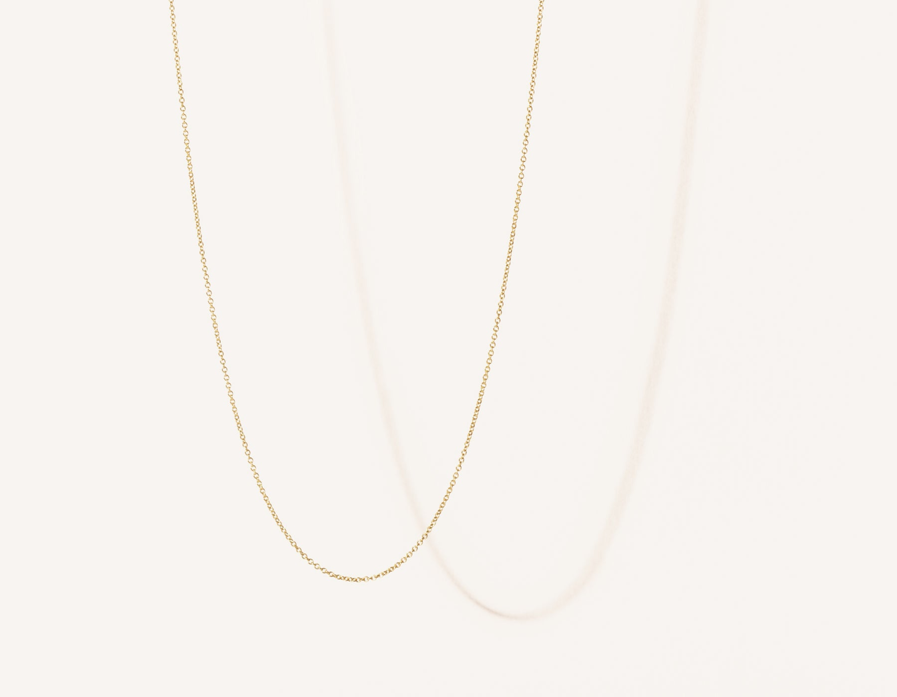 Modern minimalist thin Oval Link Chain necklace in 14k solid gold by Vrai and Oro jewelry, 14K Yellow Gold
