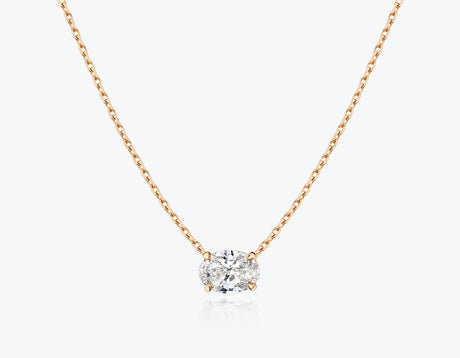 Vrai 1ct Solitaire Oval Created Diamond Necklace, 14K Rose Gold