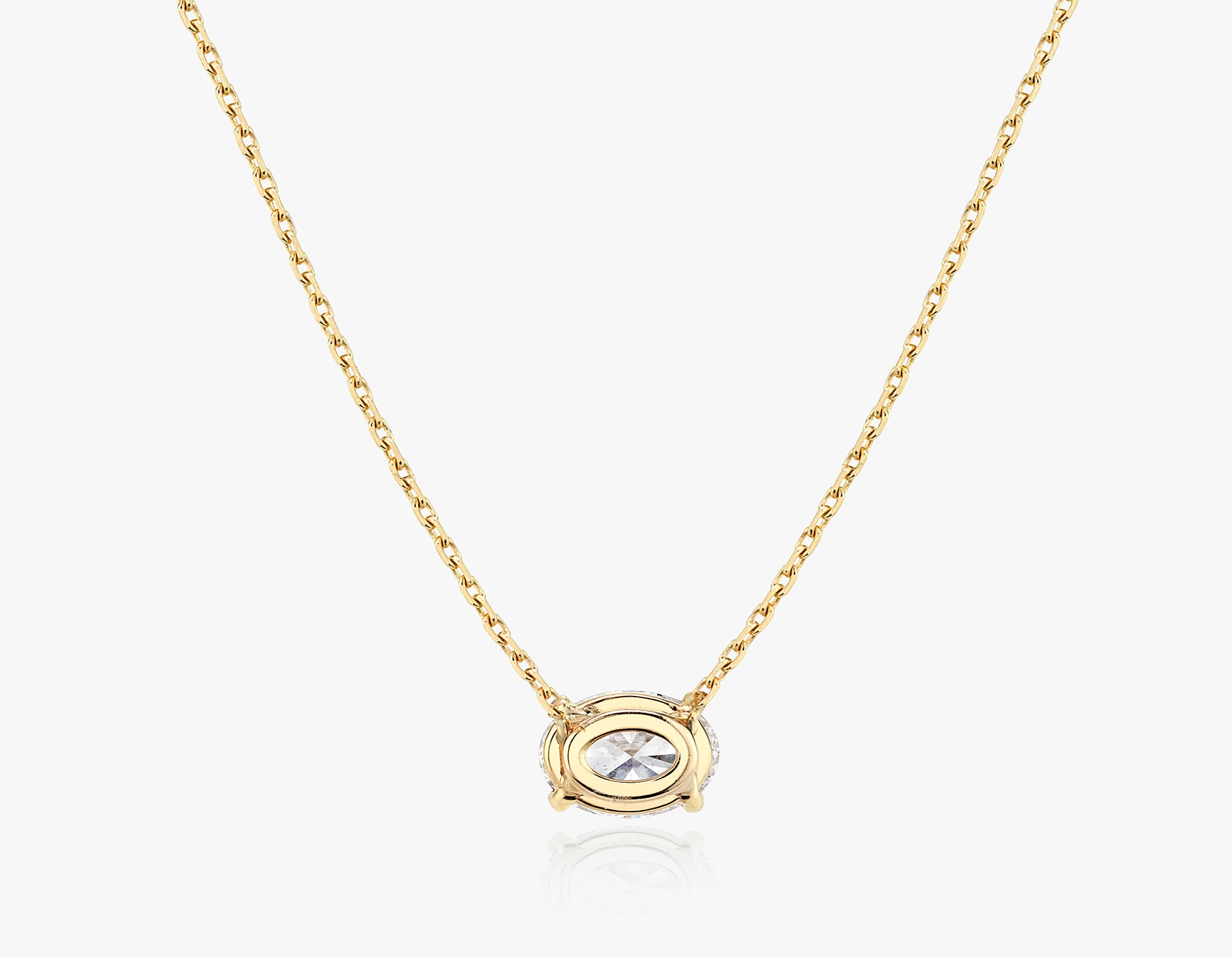 Vrai 1ct Solitaire Oval Created Diamond Necklace back view, 14K Yellow Gold
