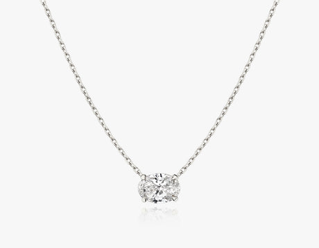 Vrai 1ct Solitaire Oval Created Diamond Necklace, 14K White Gold