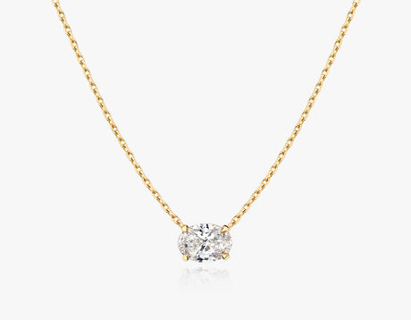 Vrai 1ct Solitaire Oval Created Diamond Necklace, 14K Yellow Gold
