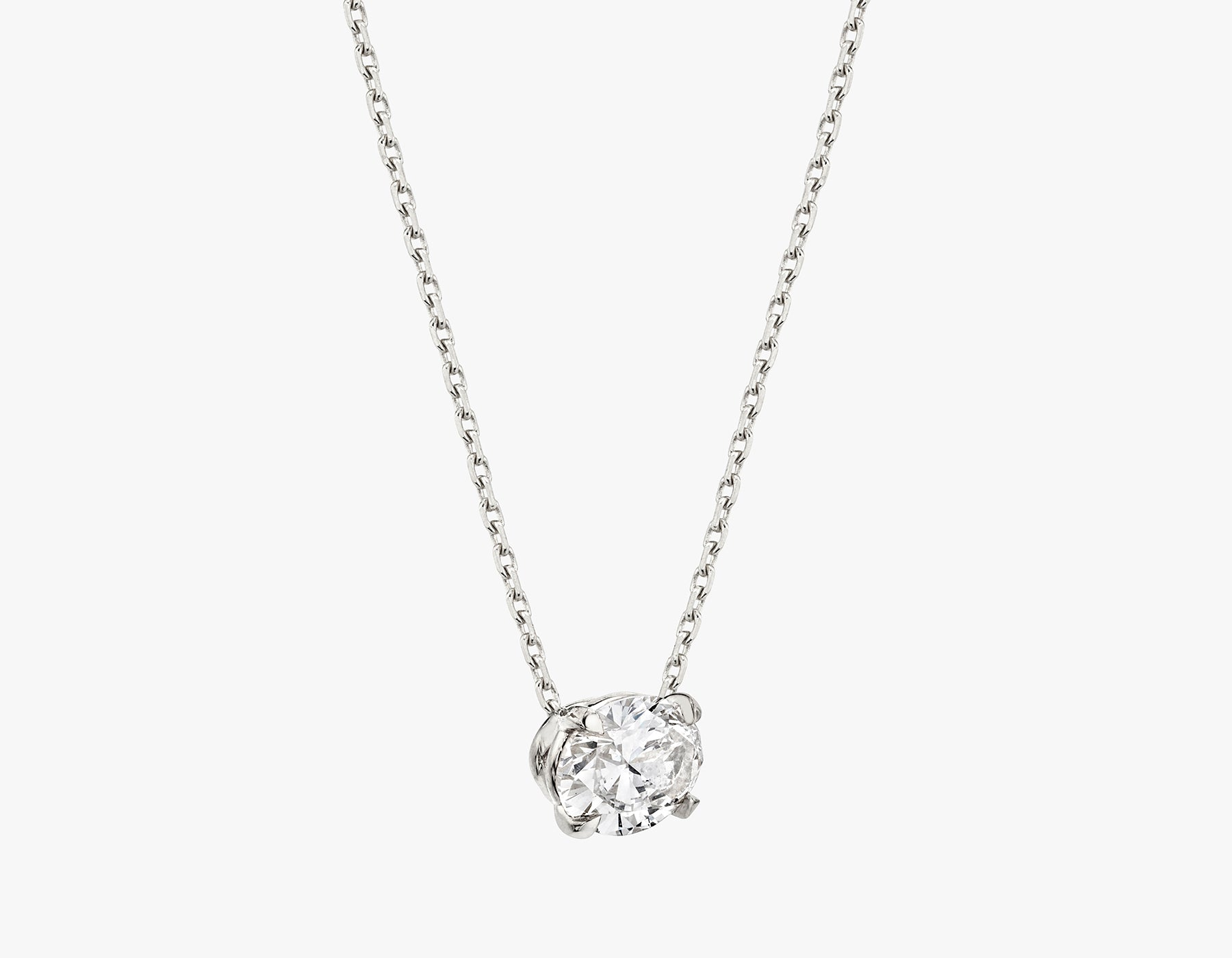 Vrai 1ct Solitaire Oval Created Diamond Necklace side view, 14K White Gold