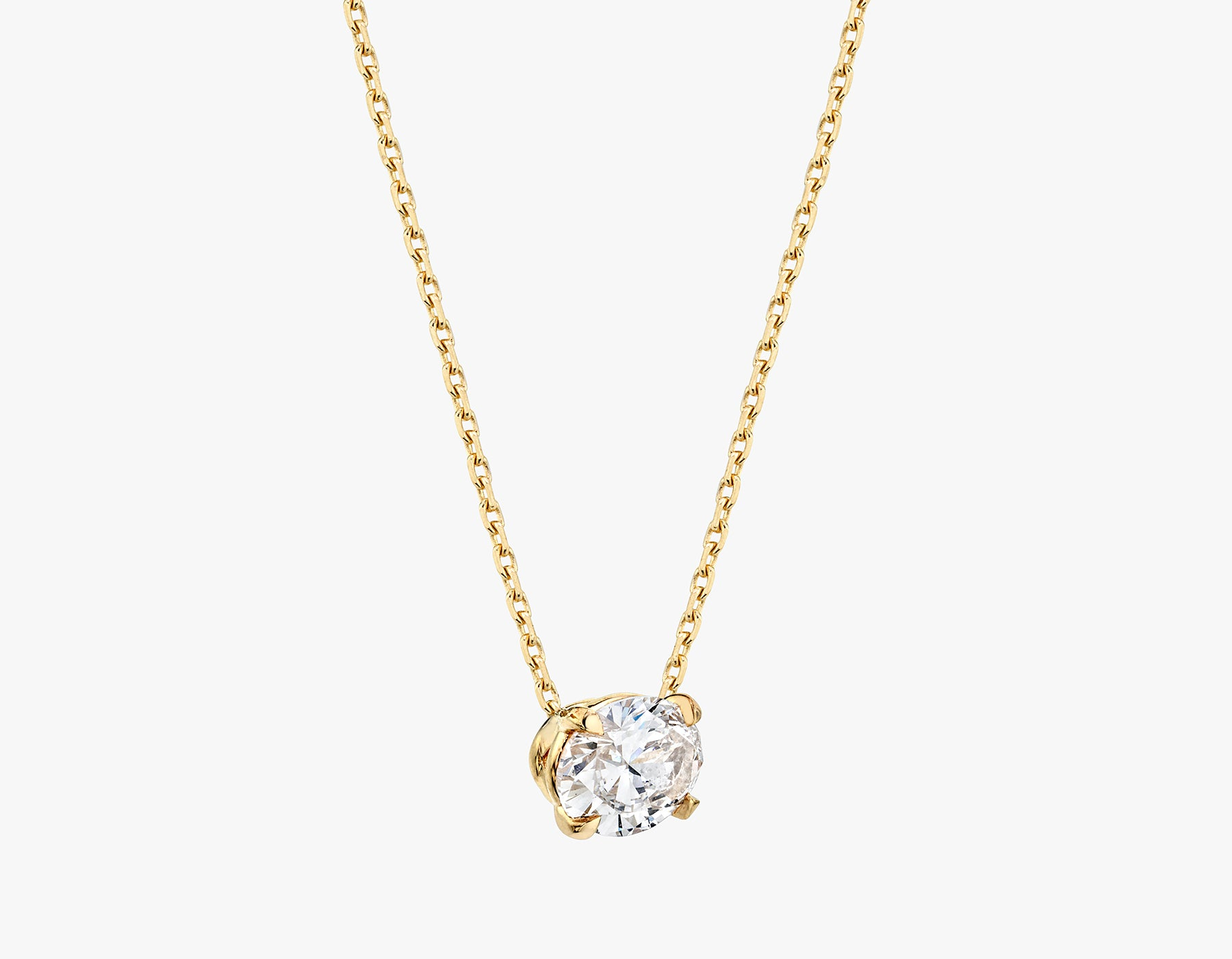 Vrai 1ct Solitaire Oval Created Diamond Necklace side view, 14K Yellow Gold
