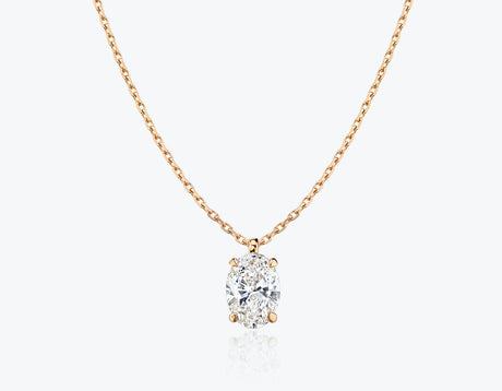 Vrai 1ct Solitaire Oval Created Diamond Pendant Necklace, 14K Rose Gold