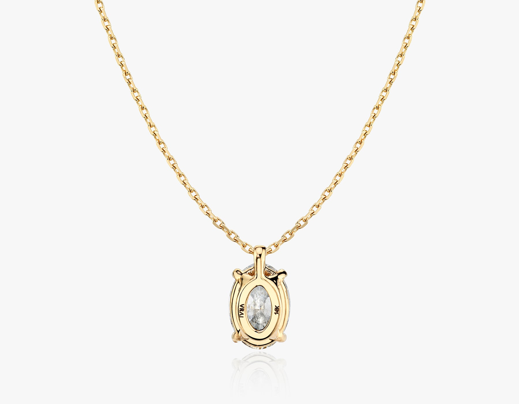 Vrai 1ct Solitaire Oval Created Diamond Pendant Necklace back view, 14K Yellow Gold