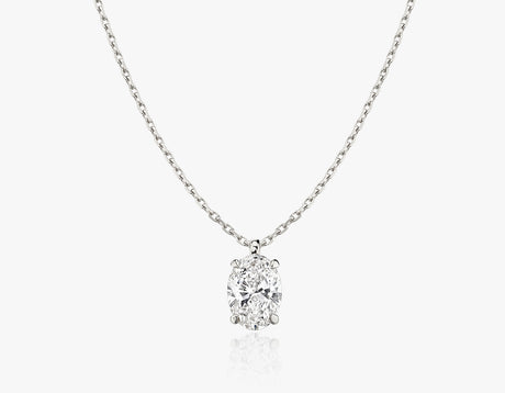 Vrai 1ct Solitaire Oval Created Diamond Pendant Necklace, 14K White Gold