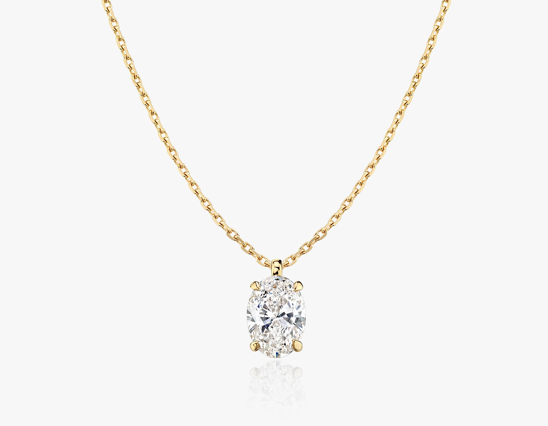 Vrai 1ct Solitaire Oval Created Diamond Pendant Necklace, 14K Yellow Gold