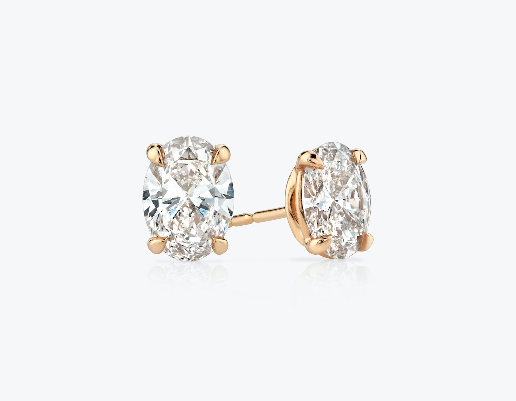 Vrai 1ct Solitaire Oval Created Diamond Studs, 14K Rose Gold