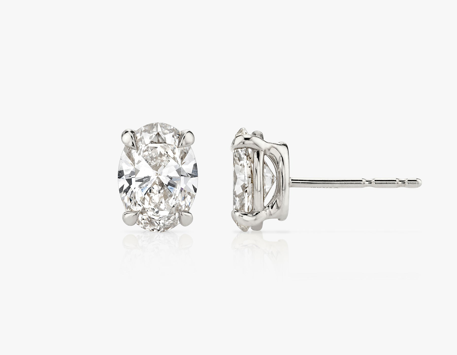 Vrai 1ct Solitaire Oval Created Diamond Studs, 14K White Gold