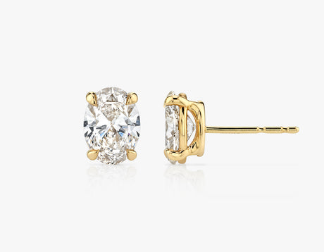 Vrai 1ct Solitaire Oval Created Diamond Studs, 14K Yellow Gold