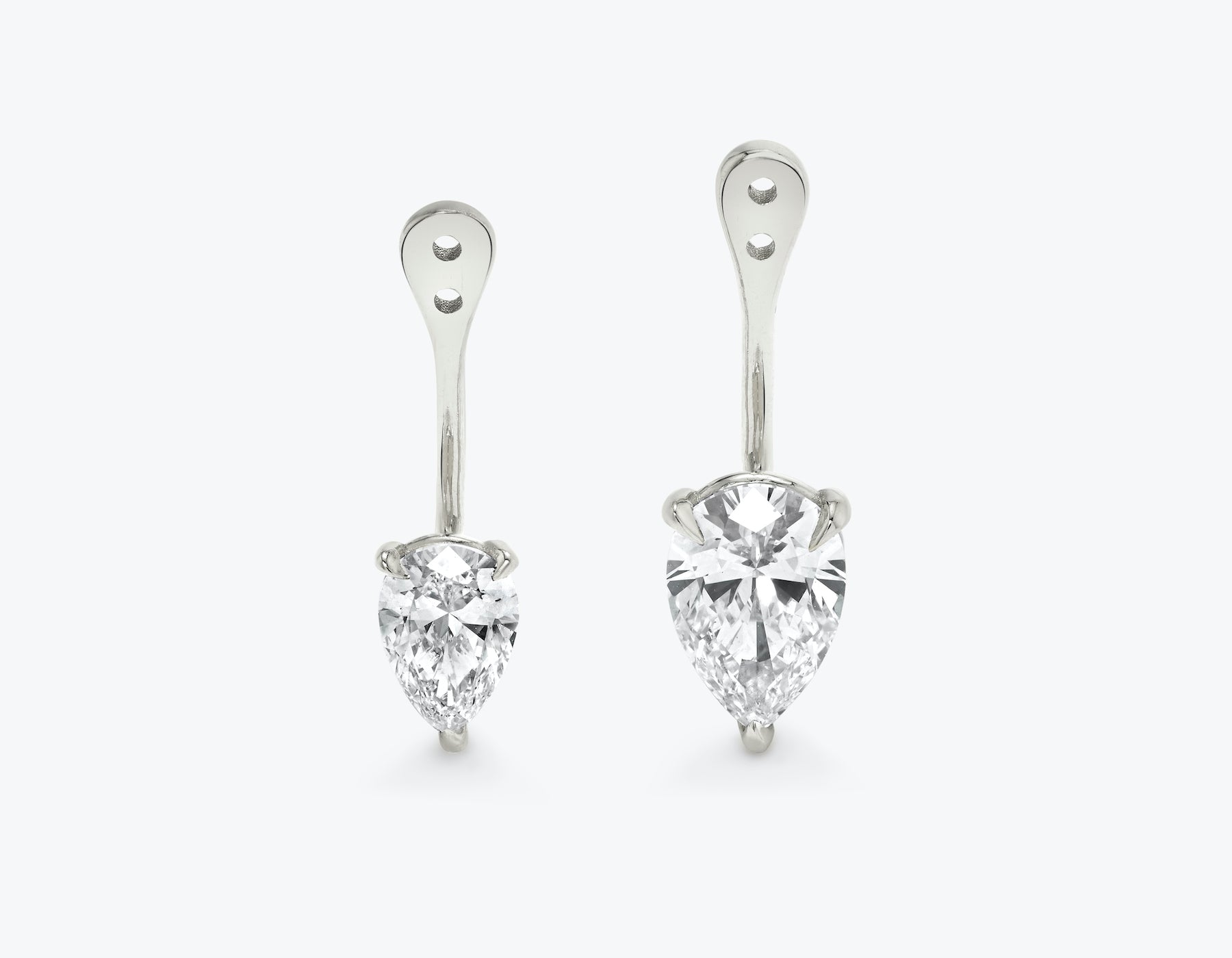 Vrai solitaire pear diamond drop ear jackets made in 14k solid gold with sustainably created diamonds, 14K White Gold