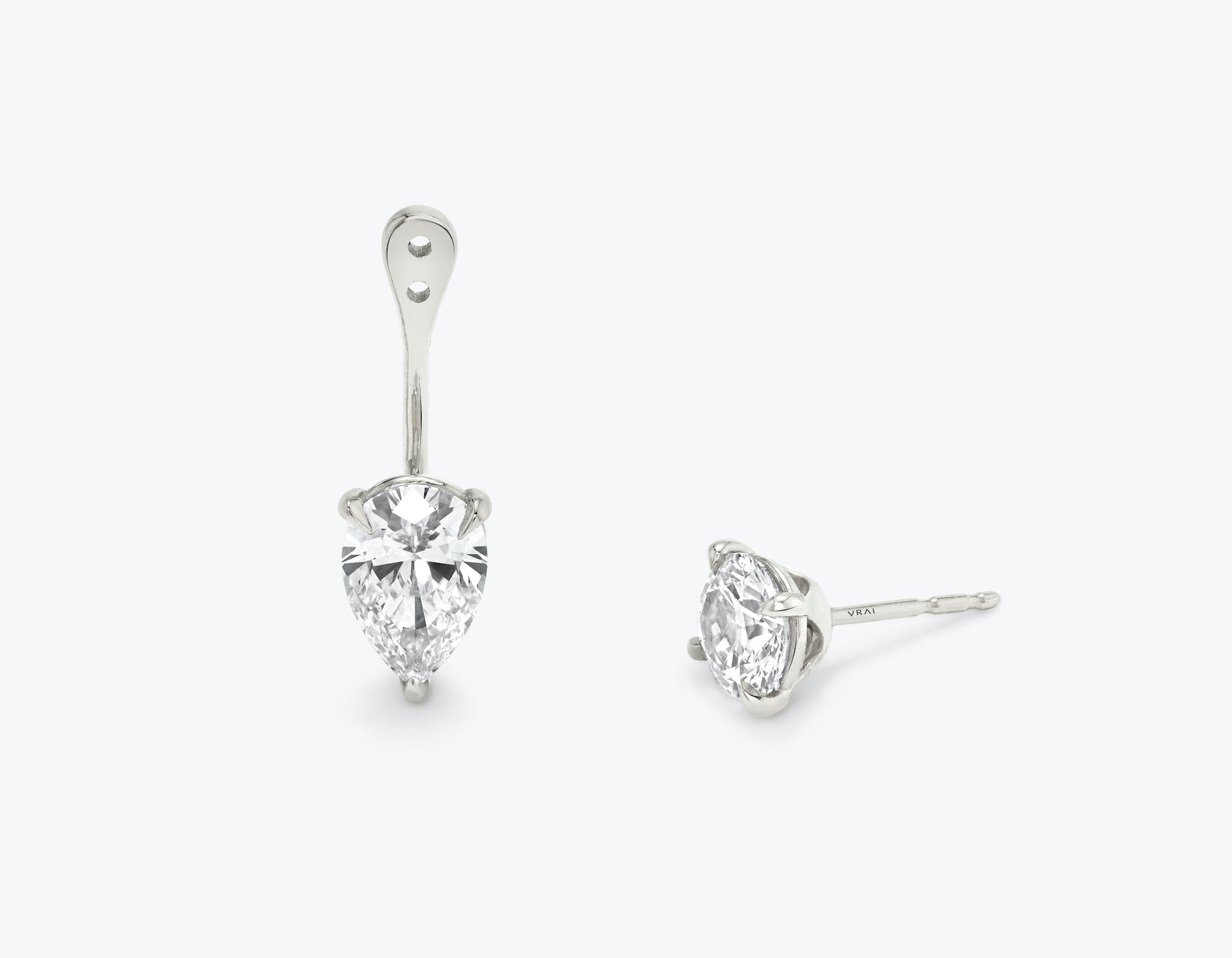 Vrai solitaire pear diamond drop ear jackets made in 14k solid gold with sustainably created diamonds with round solitaire diamond stud, 14K White Gold
