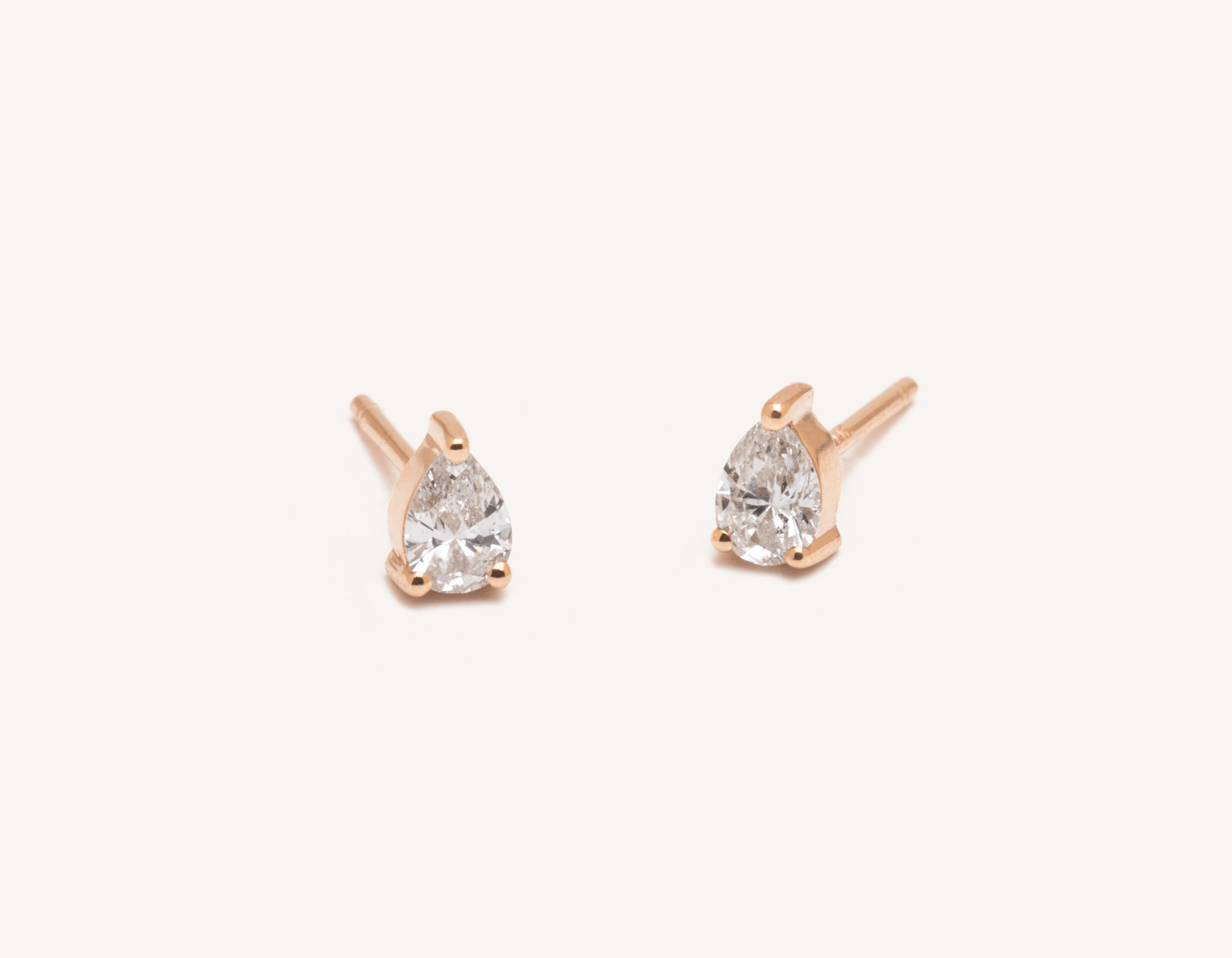 Vrai & Oro 14k pear diamond earrings simple classic stud post, 14K Rose Gold