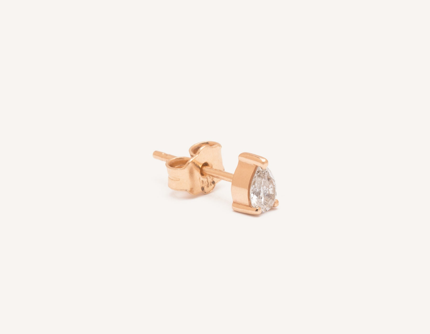 Modern Minimalist .15ct Pear Diamond Stud earrings Vrai and Oro, 14K Rose Gold