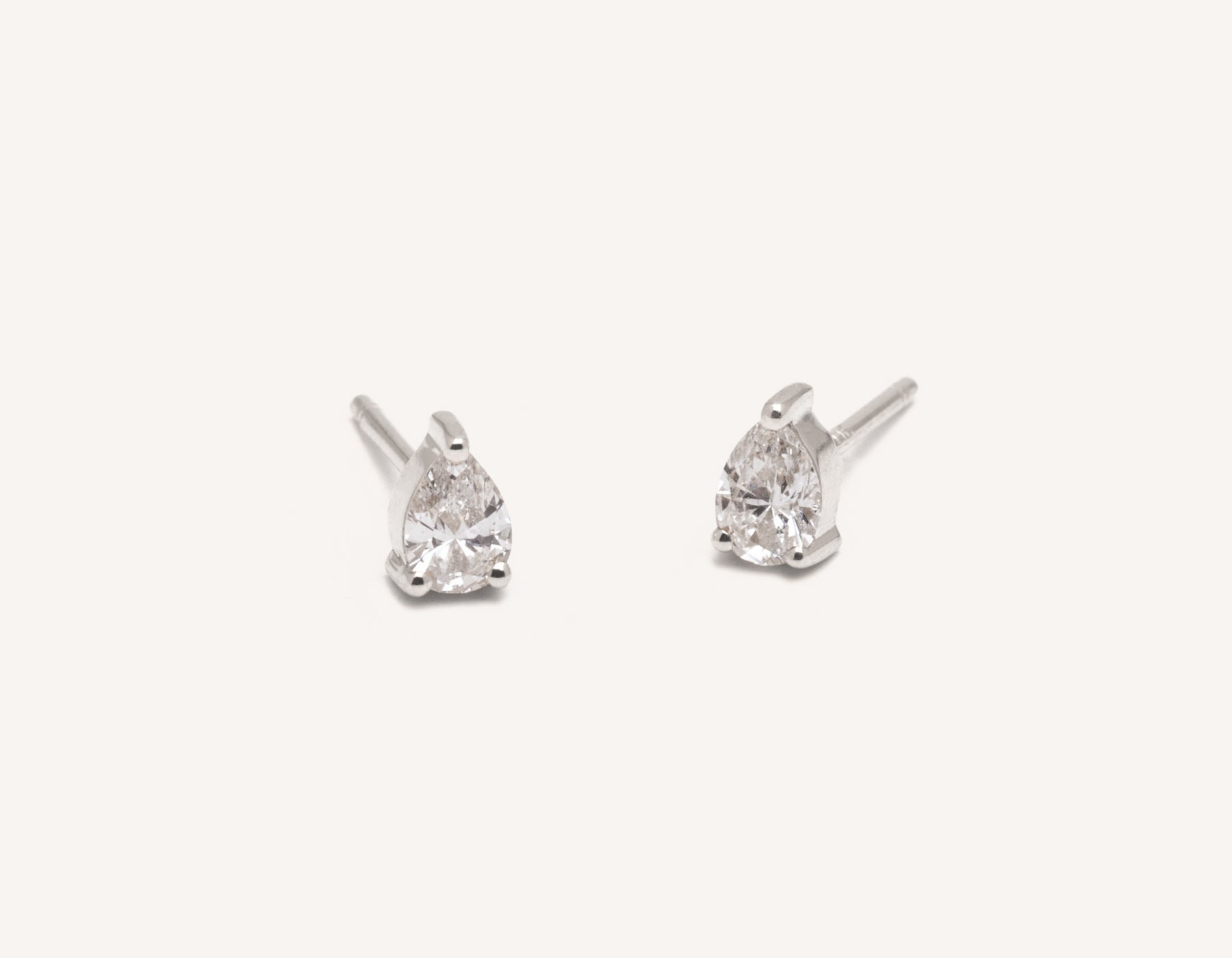 Vrai & Oro 14k pear diamond earrings simple classic stud post, 14K White Gold