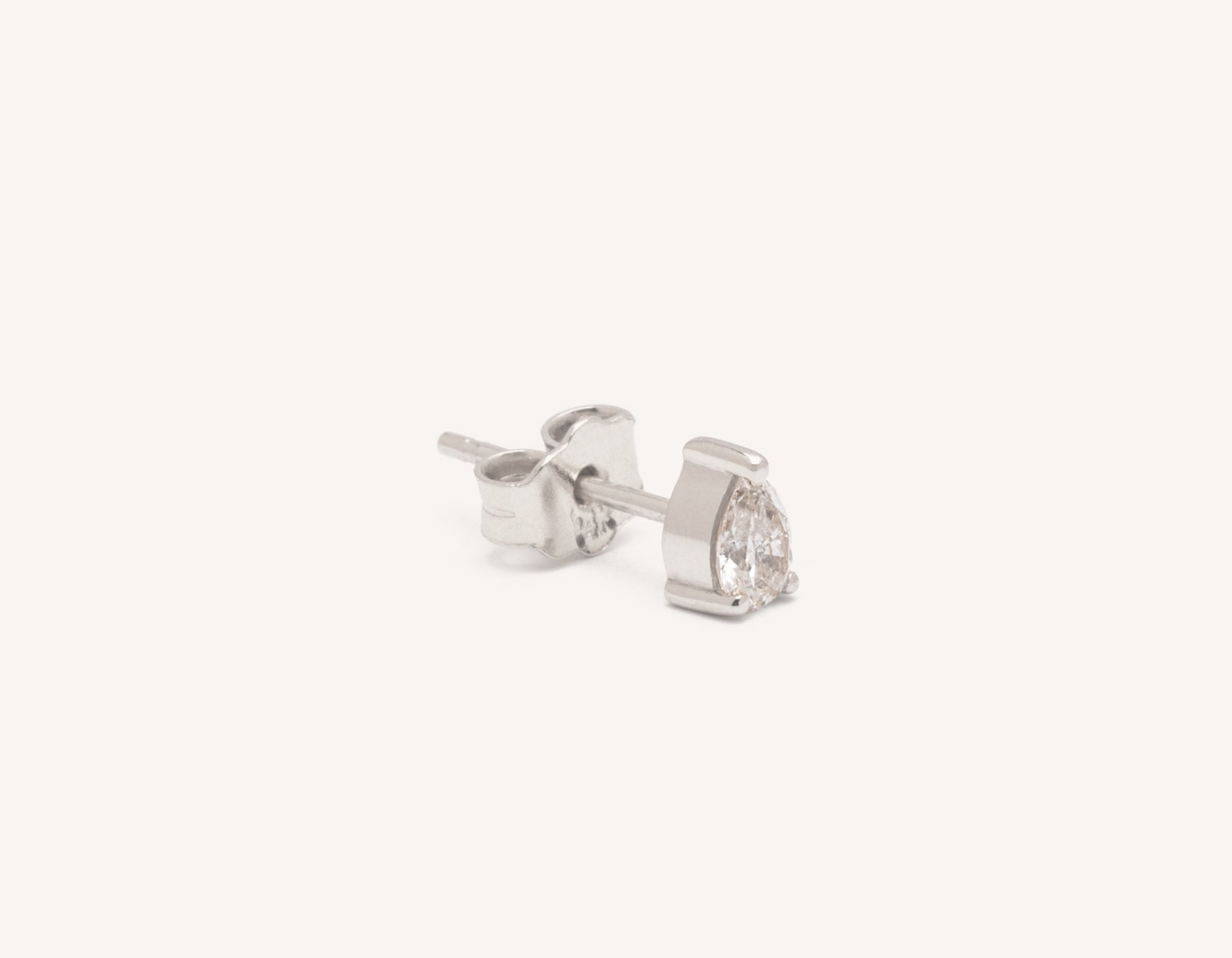 Modern Minimalist .15ct Pear Diamond Stud earrings Vrai and Oro, 14K White Gold