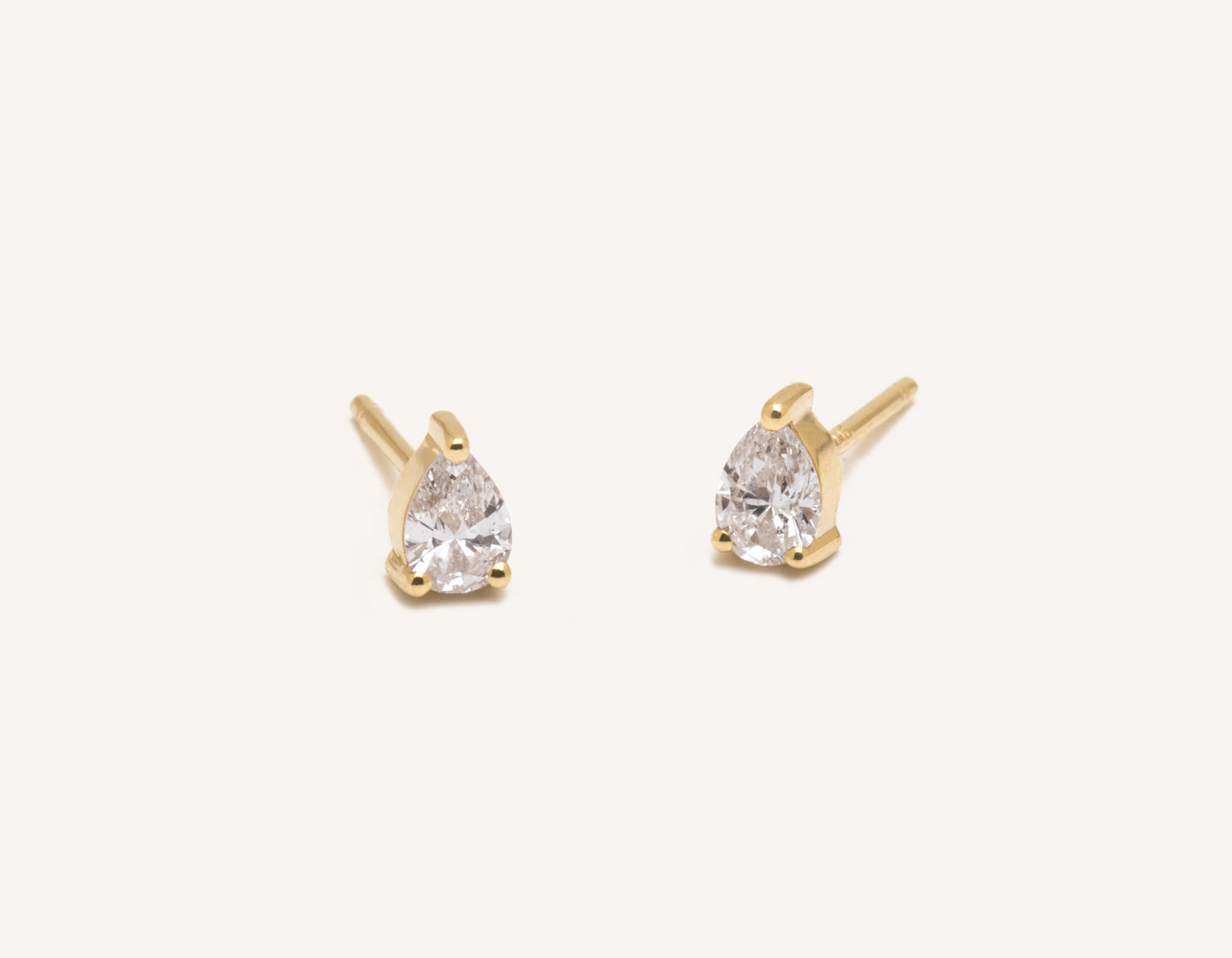 Vrai & Oro 14k pear diamond earrings simple classic stud post, 14K Yellow Gold