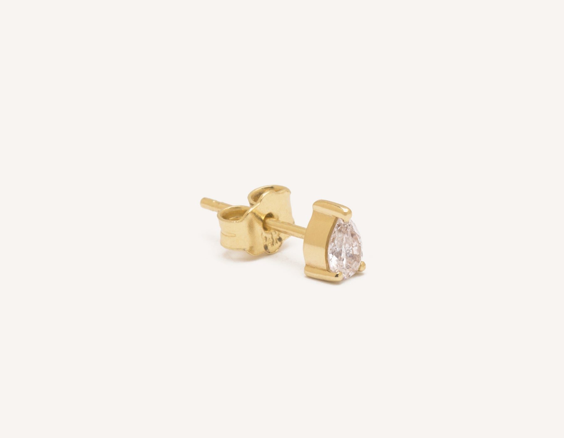 Modern Minimalist .15ct Pear Diamond Stud earrings Vrai and Oro, 14K Yellow Gold