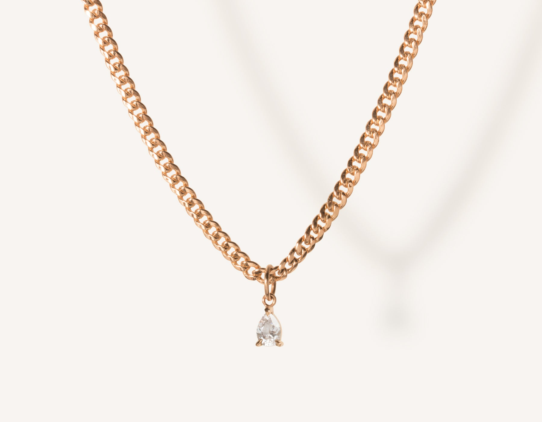 vrai & oro 14k solid gold small Pear Diamond Pendant Necklace on modern cuban link chain, 14K Rose Gold
