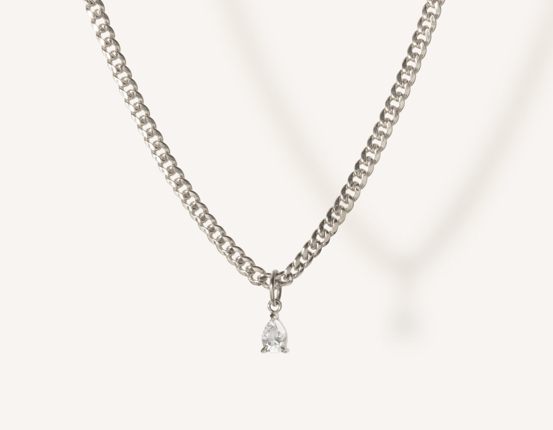 vrai & oro 14k solid gold small Pear Diamond Pendant Necklace on modern cuban link chain, 14K White Gold