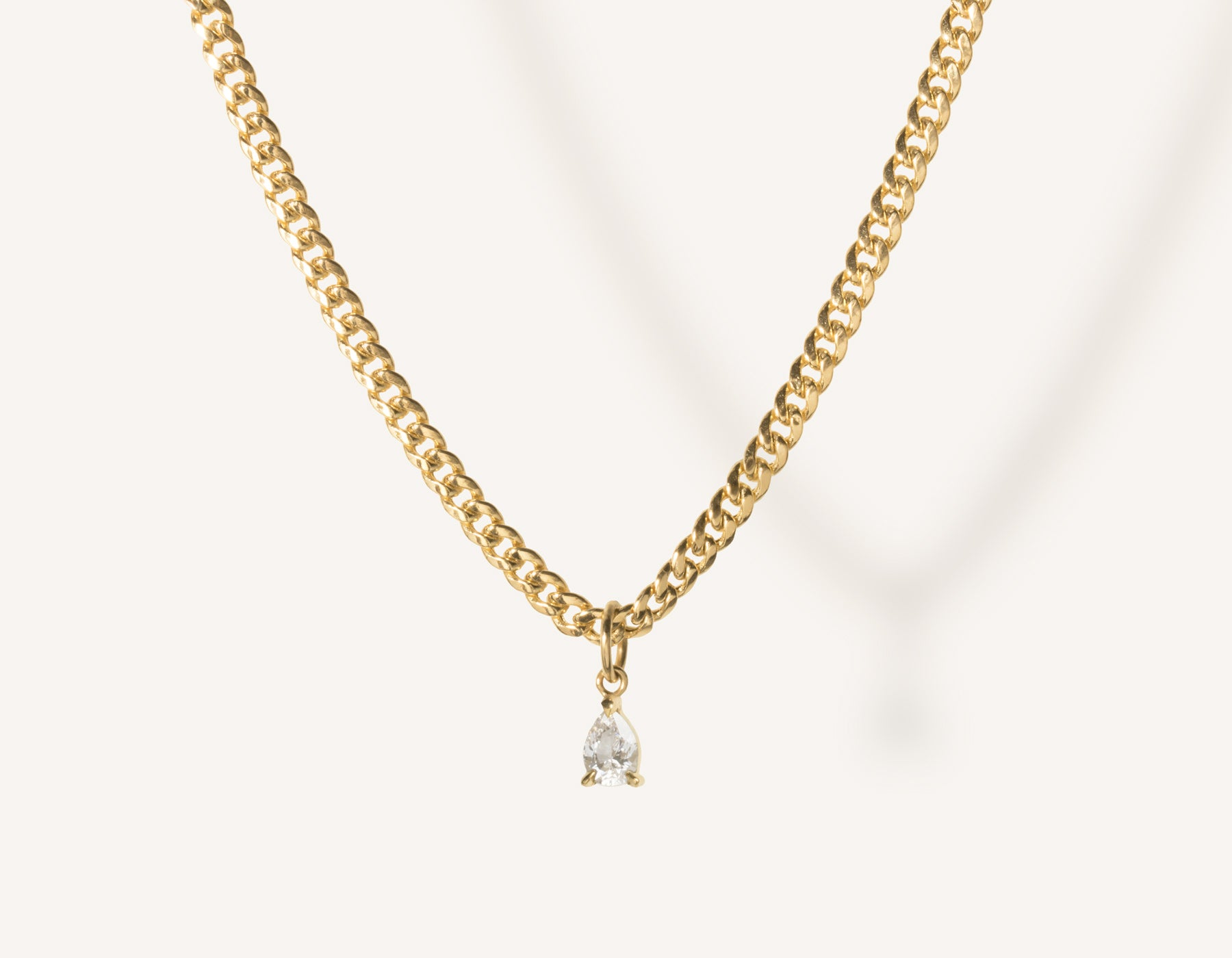vrai & oro 14k solid gold small Pear Diamond Pendant Necklace on modern cuban link chain, 14K Yellow Gold