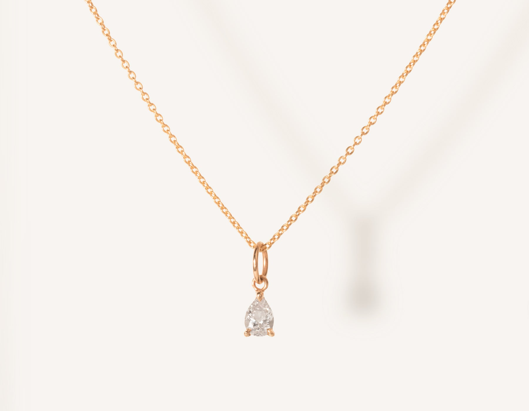 vrai & oro 14k solid gold dainty Pear Diamond Pendant Necklace on minimalist oval link chain, 14K Rose Gold