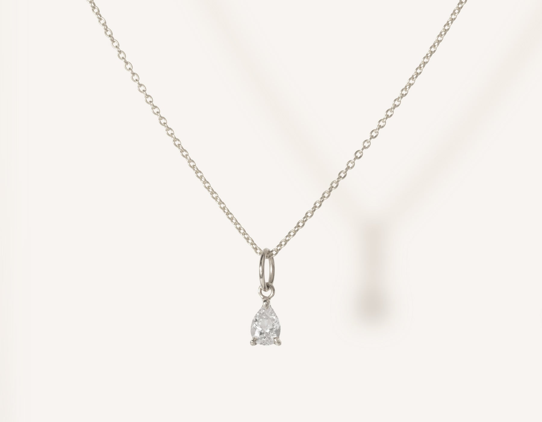 vrai & oro 14k solid gold dainty Pear Diamond Pendant Necklace on minimalist oval link chain, 14K White Gold