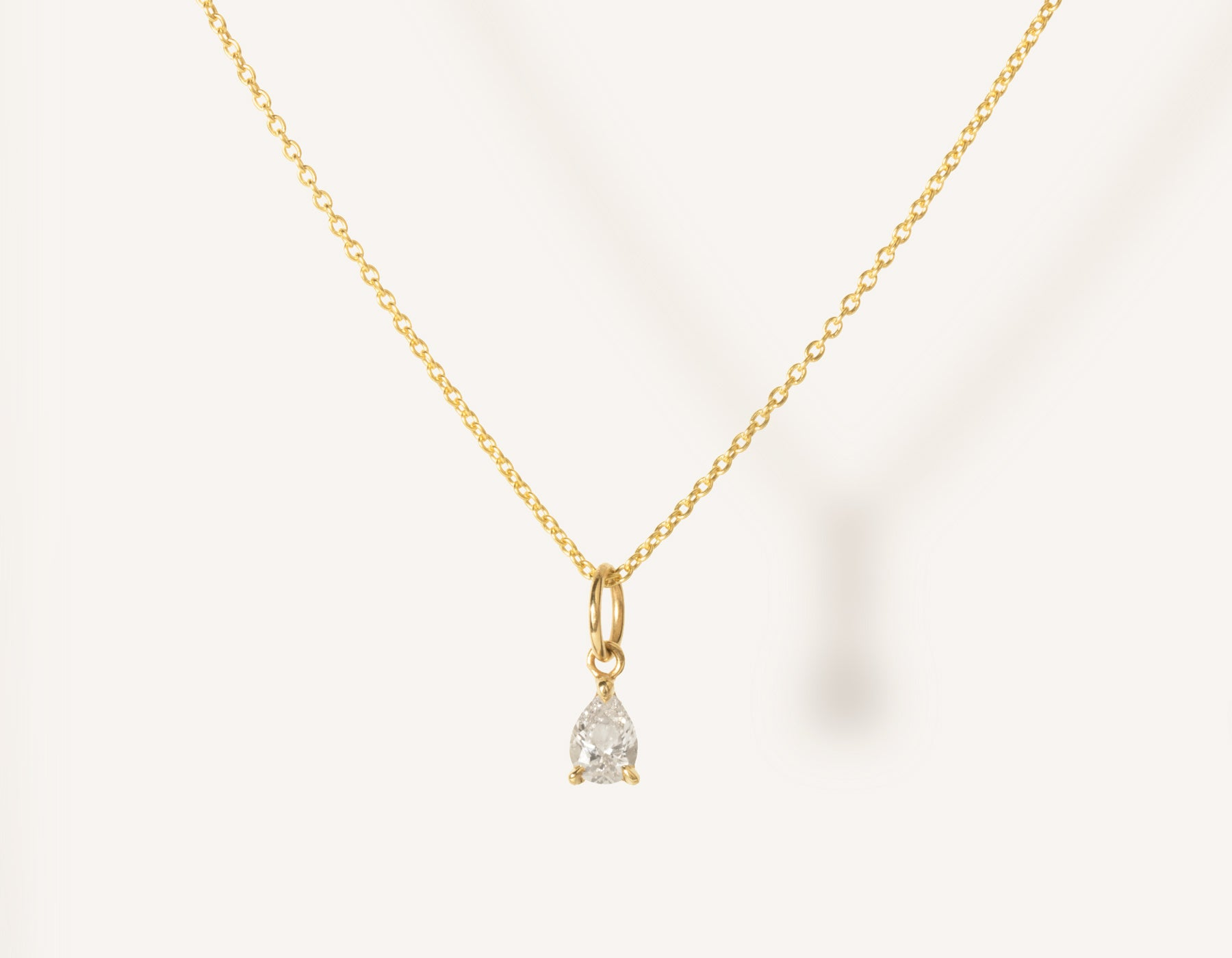 d7aec319e vrai & oro 14k solid gold dainty Pear Diamond Pendant Necklace on  minimalist oval link chain
