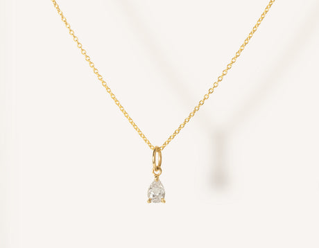 vrai & oro 14k solid gold dainty Pear Diamond Pendant Necklace on minimalist oval link chain, 14K Yellow Gold