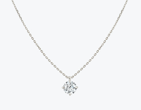 Vrai 14K solid gold solitaire round brilliant diamond pendant necklace 1ct minimalist delicate, 14K White Gold