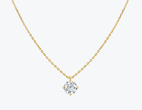 Vrai 14K solid gold solitaire round brilliant diamond pendant necklace 1ct minimalist delicate, 14K Yellow Gold