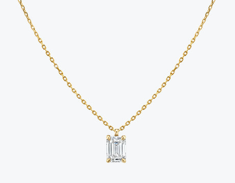 Vrai 14K solid gold solitaire emerald diamond pendant necklace 1ct minimalist delicate, 14K Yellow Gold