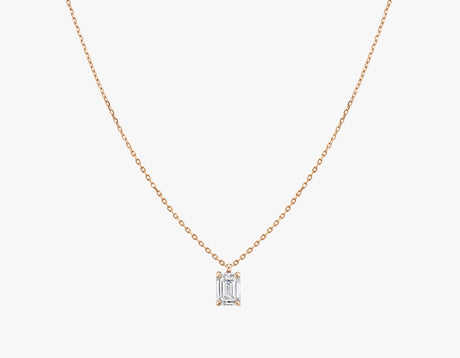 Vrai 14K solid gold solitaire emerald diamond pendant necklace 1ct minimalist delicate, 14K Rose Gold