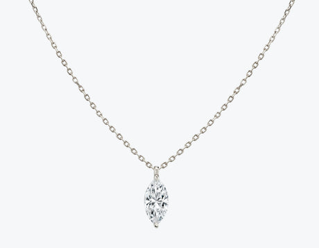 Vrai 14K solid gold solitaire marquise diamond pendant necklace 1ct minimalist delicate, 14K White Gold