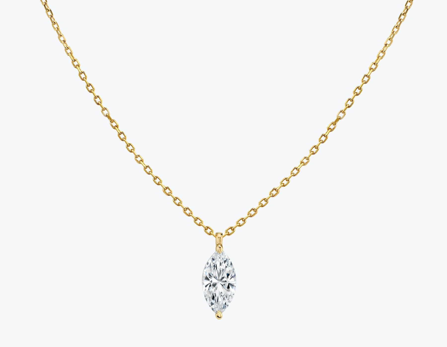 Vrai 14K solid gold solitaire marquise diamond pendant necklace 1ct minimalist delicate, 14K Yellow Gold