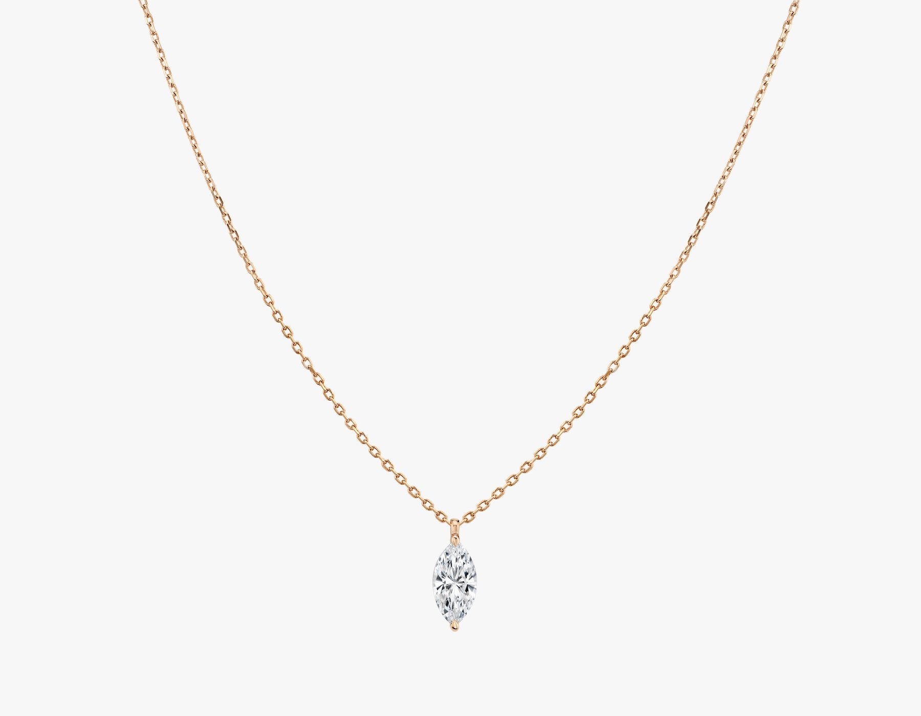 Vrai 14K solid gold solitaire marquise diamond pendant necklace 1ct minimalist delicate, 14K Rose Gold