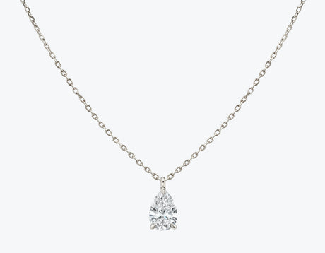 Vrai 14K solid gold solitaire pear diamond pendant necklace 1ct minimalist delicate, 14K White Gold