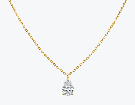 Vrai 14K solid gold solitaire pear diamond pendant necklace 1ct minimalist delicate, 14K Yellow Gold